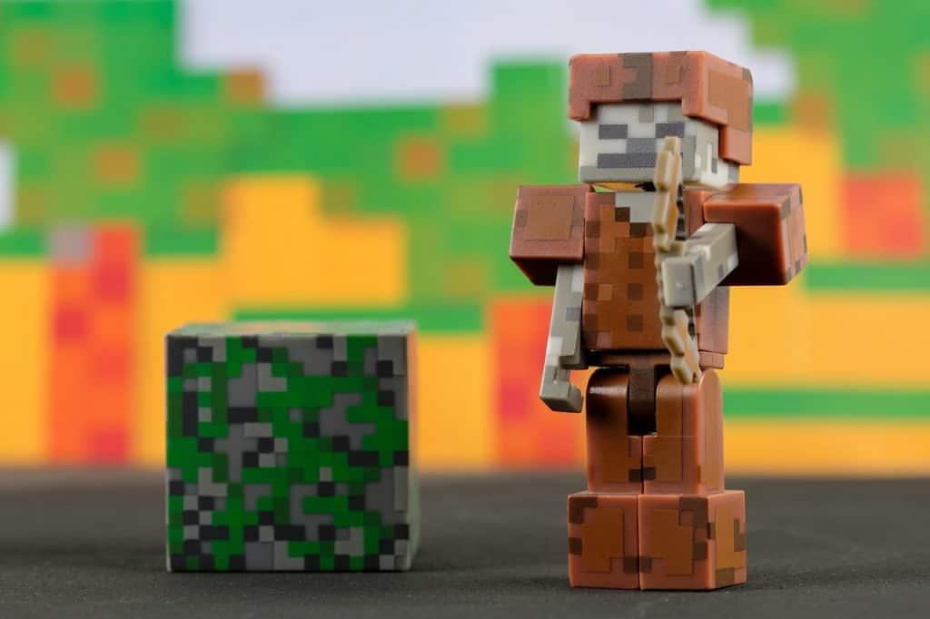 Imagem de brinquedos do Minecraft.