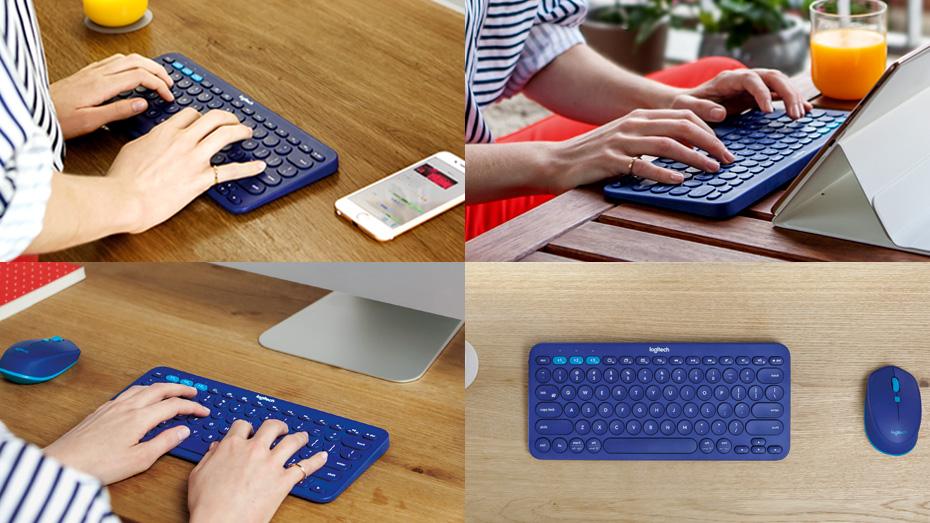 Imagem de uma pessoa utilizando teclado Logitech.