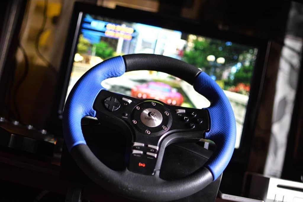Imagem de volante para PS4.