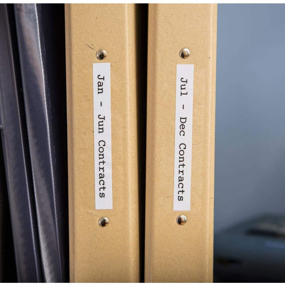 Imagem de pastas identificadas com etiquetas de um rotulador Brother
