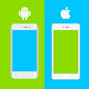 Imagem de celular Android e celular iOS
