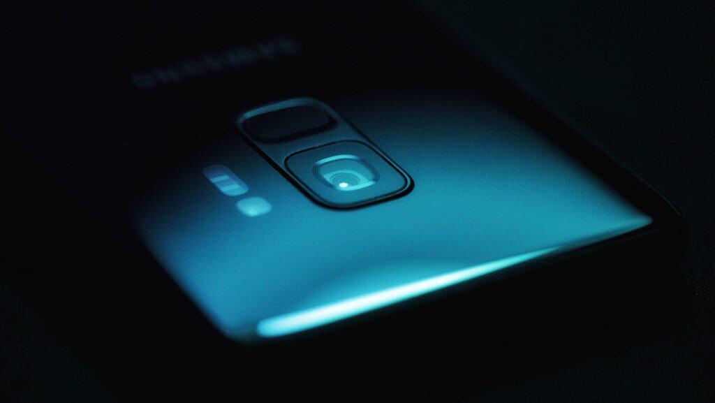 Imagem do sensor de reconhecimento digital do smartphone da Samsung.