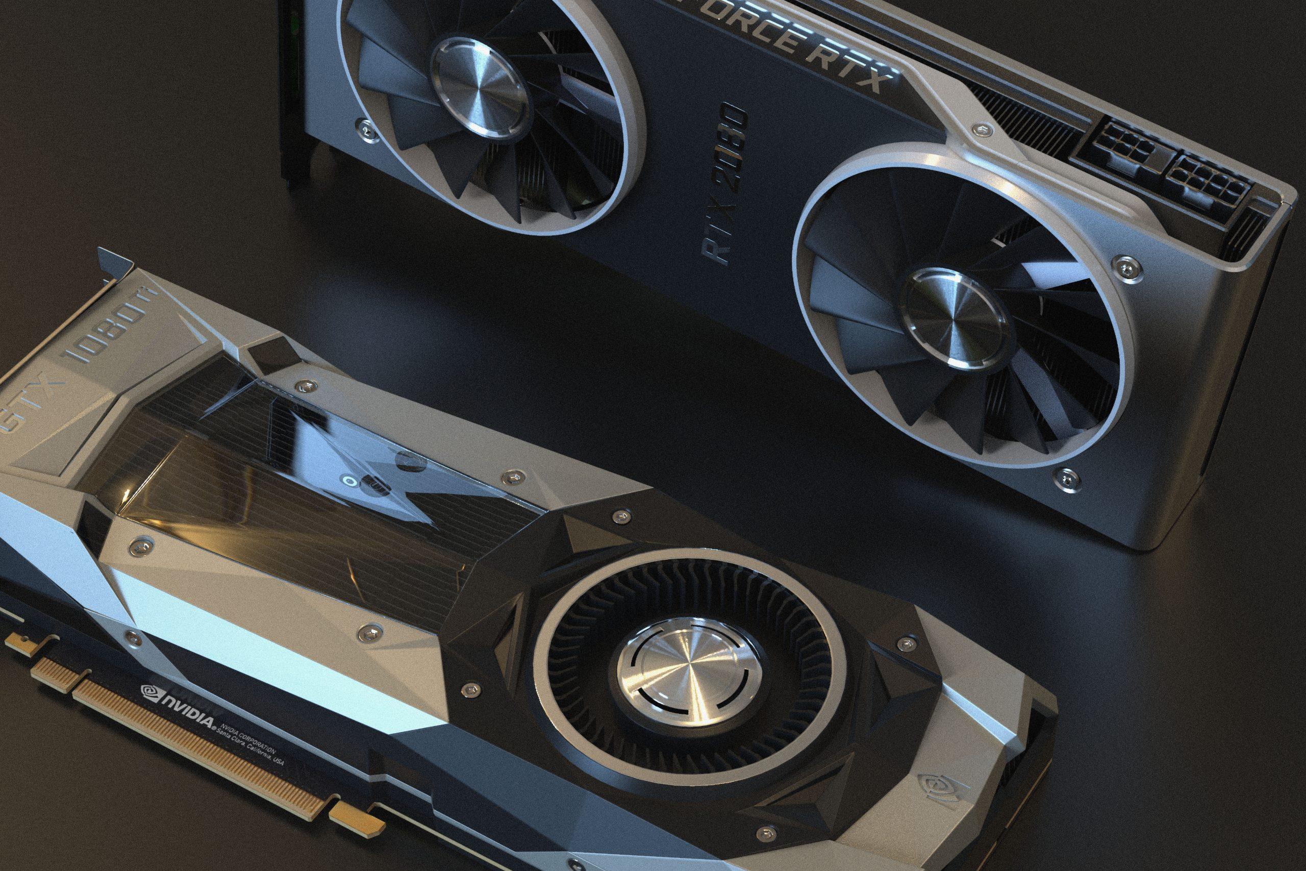 Imagem mostra duas placas de vídeo em destaque.