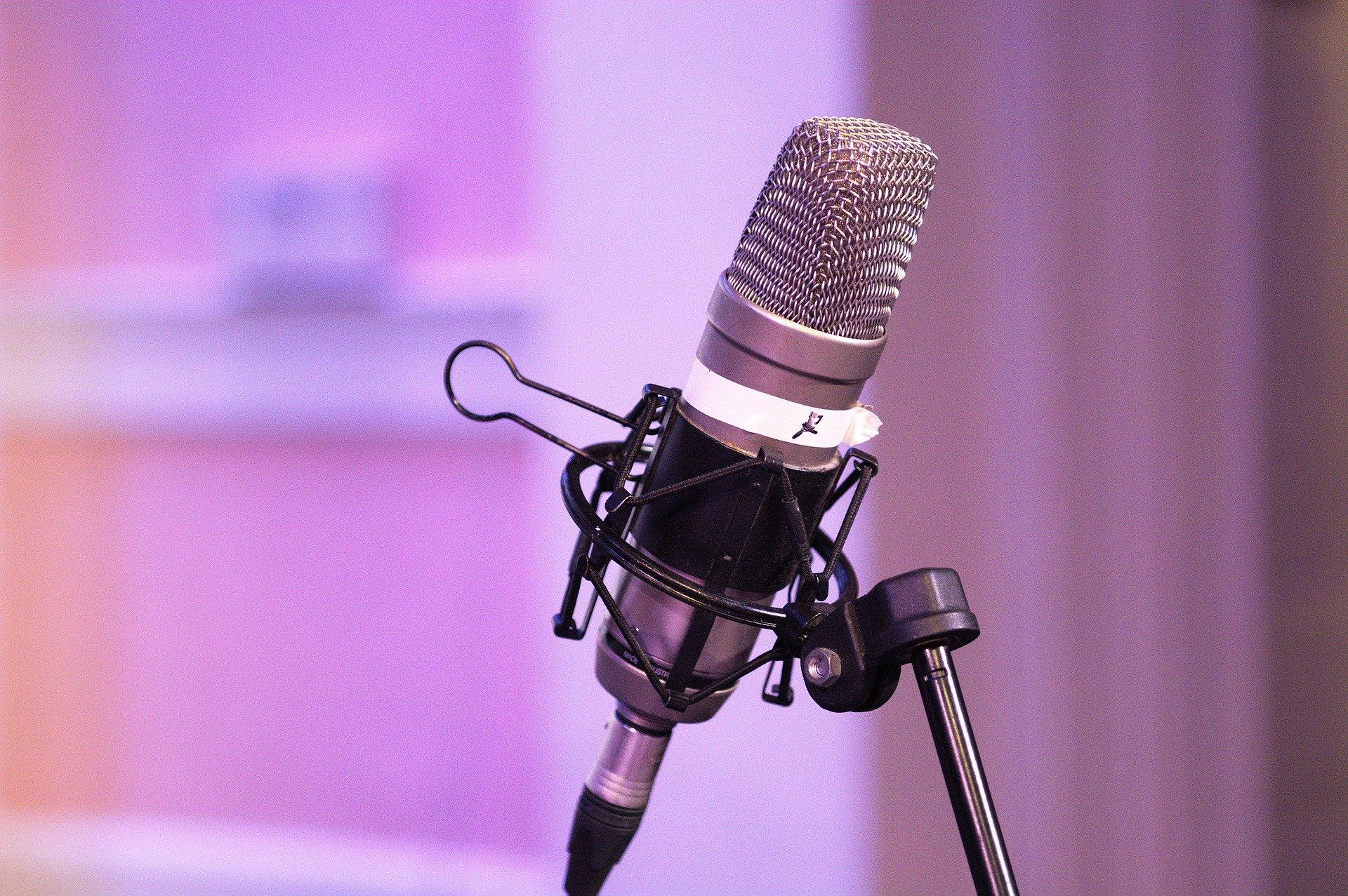 Imagem mostra um microfone preso a um suporte.