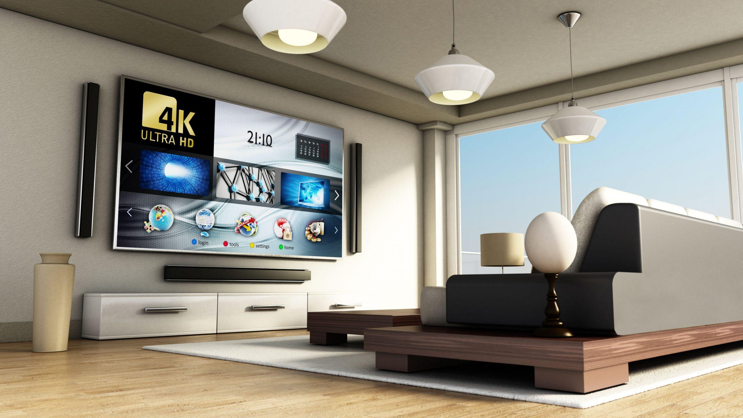 TV 75 polegadas ligada na sala