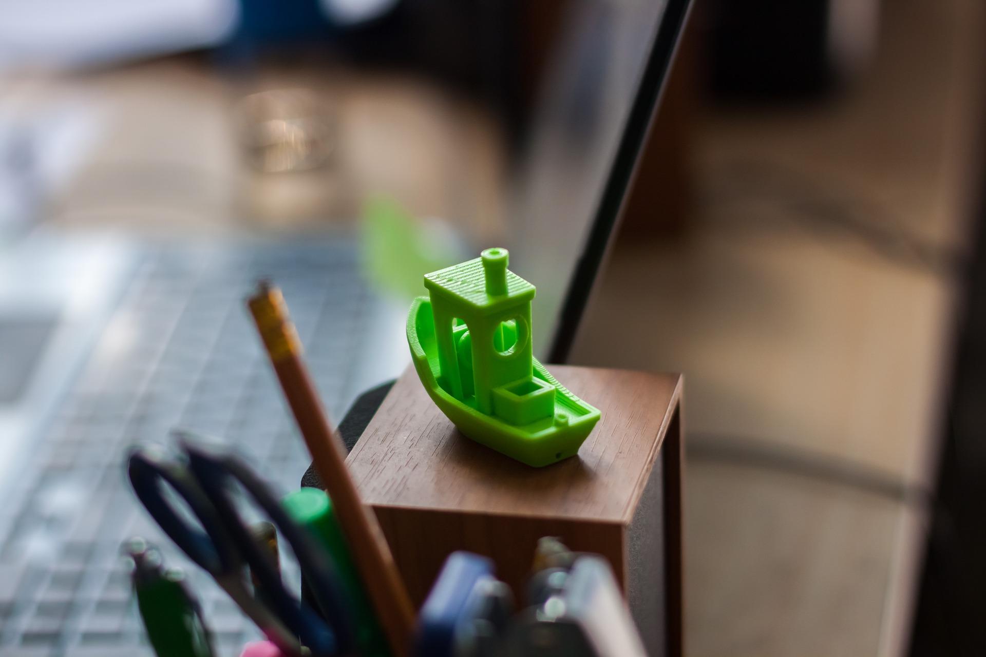 Imagem mostra um pequeno objeto criado com impressão 3D.