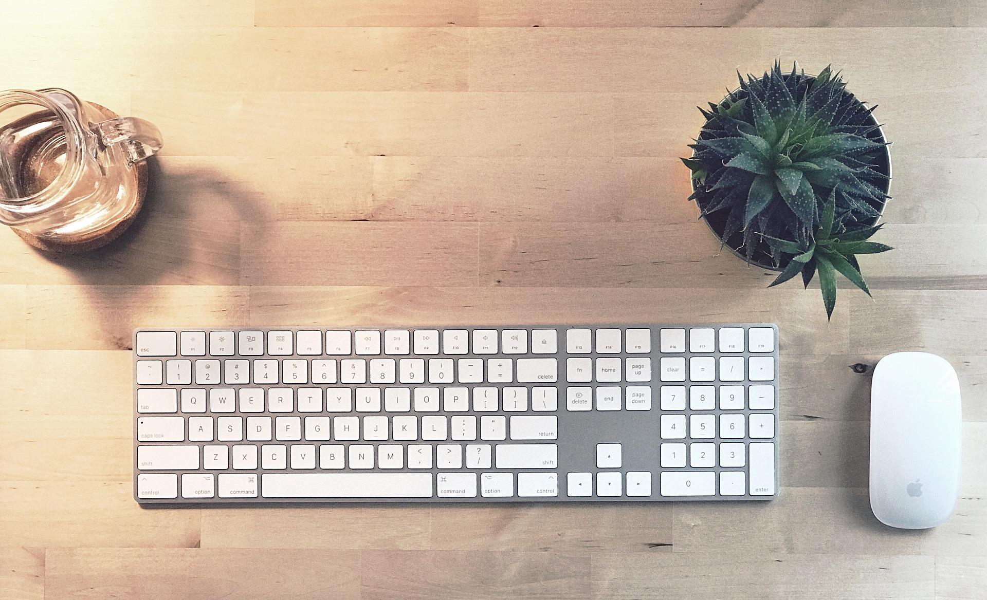 Imagem mostra um Magic Keyboard ao lado de um mouse sobre uma mesa.