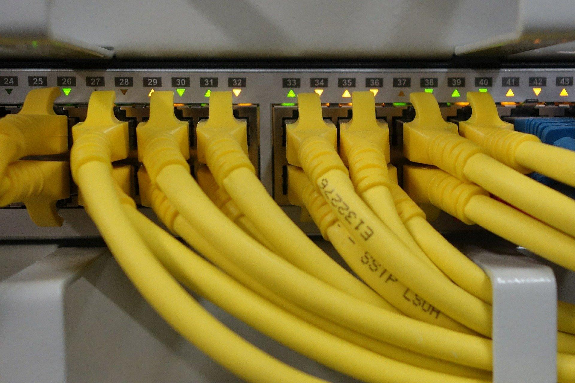 Imagem mostra um switch de rede com muitas portas.