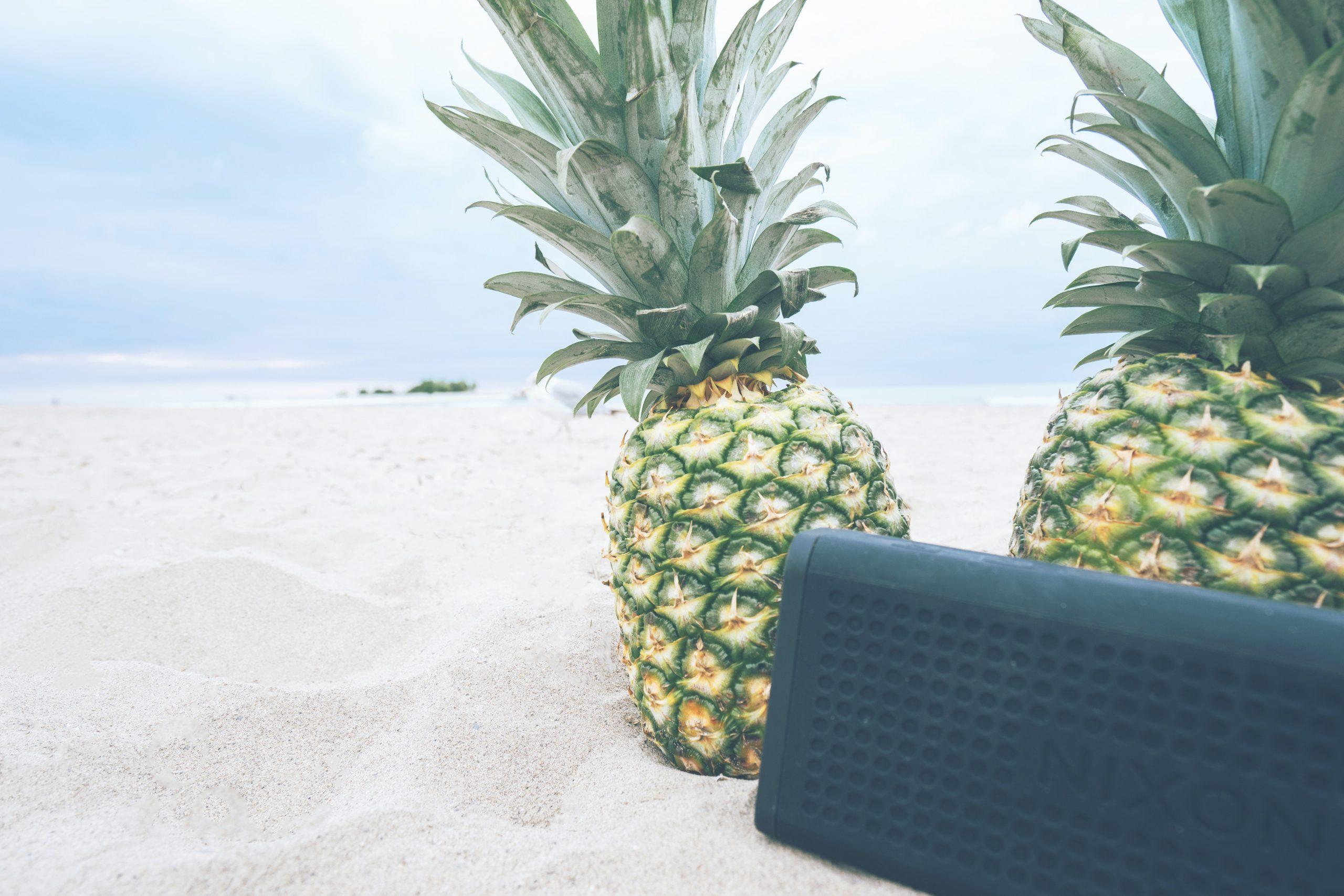 Imagem mostra uma caixa de som na areia da praia junto com dois abacaxis.