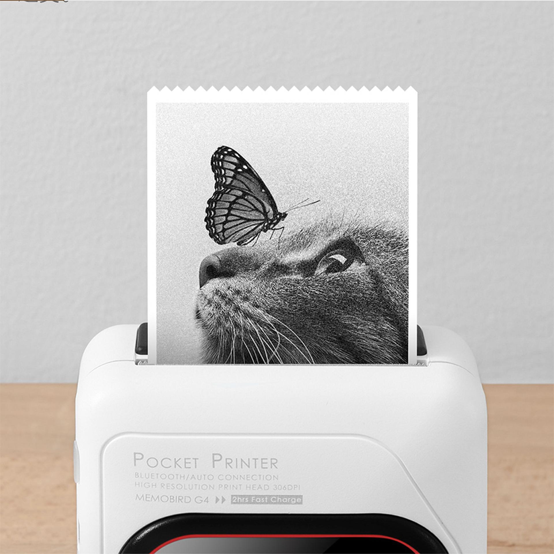 Imagem mostra uma impressora portátil imprimindo uma foto.