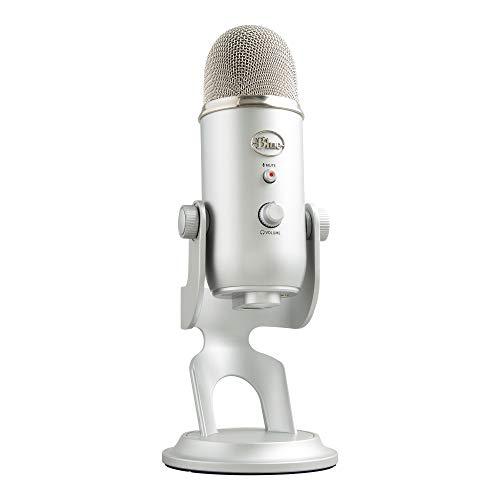 Microfone Condensador USB Blue Yeti com 4 Padrões de Captação e Conexão Plug and Play para Podcast, Gravação e Streaming em PC e Mac - Prata