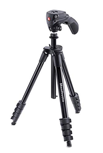 Tripé de Alumínio de Ação Compacta com Cabeça Híbrida, Manfrotto, Acessórios para Câmeras Digitais, Preto