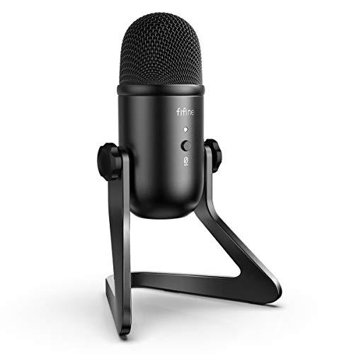 Microfone USB Podcast FIFINE para gravação de transmissão em PC e Mac, microfone condensador para jogos de computador para PS4. Saída de fone de ouvido e controle de volume, controle de ganho de microfone. Botão silencioso para voz, YouTube. (K678)