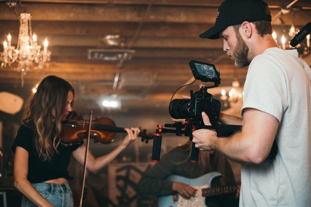 gravando video musical