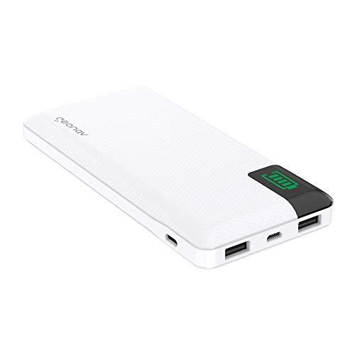 Carregador Portátil Universal 16.000mAh, 2 portas USB + 1 porta USB-C, Led Indicador de bateria, Branco, PB16KWT,Geonav