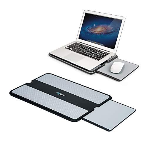 Almofada para laptop EHO – Suporte para laptop com bandeja retrátil para mouse, antiderrapante protetor de calor Tablet Notebook mesa de computador com suporte resistente e estável superfície de trabalho para sofá de cama ou viagem