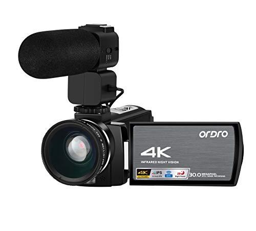 Câmera de vídeo Ordro AE8 4K Câmera 1080P 60FPS Zoom digital 3,0