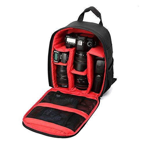 Mochila Fotográfica Impermeável Compacta para Câmeras DSLR e Mirrorless - Cor Preta e Vermelha