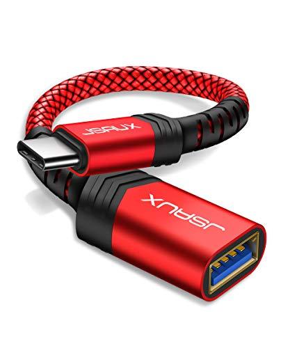 Adaptador USB C para USB, JSAUX [pacote com 2 pés] Cabo OTG tipo C 3.0 em movimento tipo C macho para adaptador USB A fêmea compatível com MacBook Pro 2018/2017, Samsung Galaxy S8/S9 Plus/Note 8, Pixel 2 etc., Vermelho