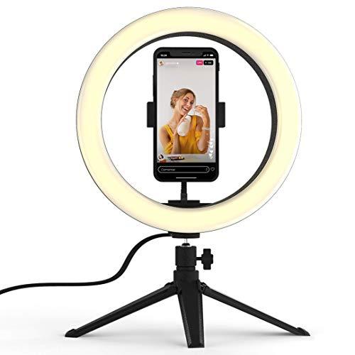 Ring Light Geniali Selfier X Com Tripé de Mesa e Suporte de Celular