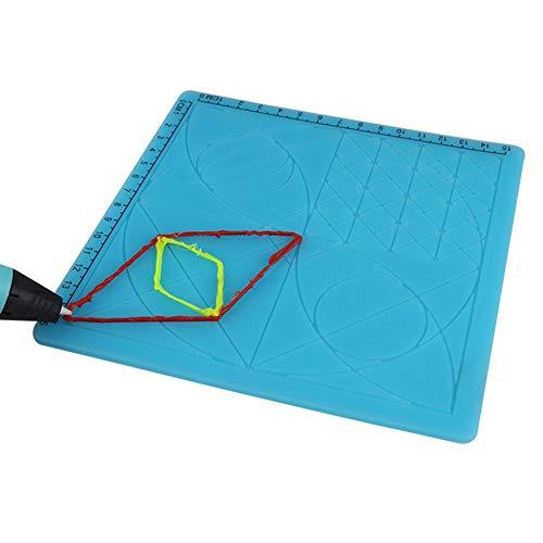 Bloco de canetas de impressão 3D de silicone geométrico para cópias de figuras de design faça você mesmo com modelo básico, 2 capas de dedo de silicone, ferramentas de desenho de caneta