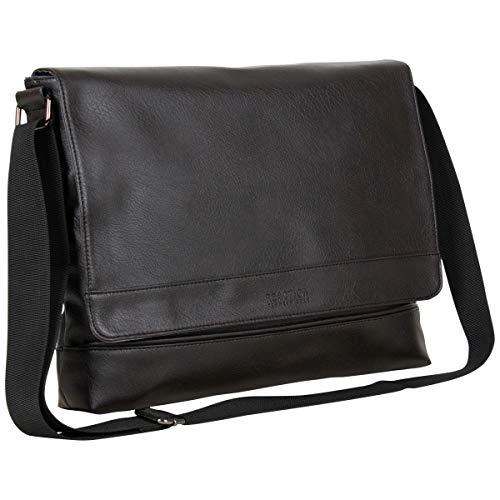 Kenneth Cole REACTION Strident-Class Bolsa carteiro de couro vegano de 15 polegadas para laptop e tablet transversal para trabalho, escola, viagem, Marrom, 15