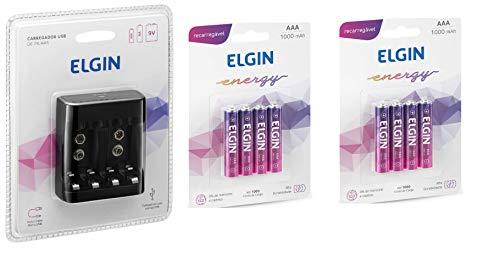 Carreg. Pilhas E Baterias Usb Elgin Scusb + 8 pilhas Aaa 1000