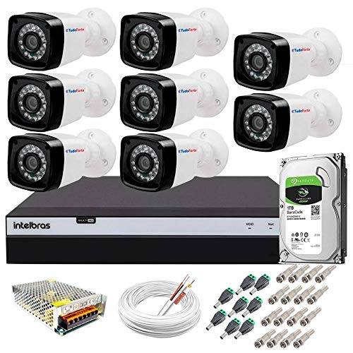 Kit 8 Câmeras Full HD 1080p + DVR Intelbras MHDX 3108 c/HD 1TB + Acessórios