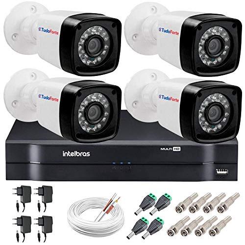 Kit 04 Câmeras de Segurança Hd 720p Hb Tech + Dvr Intelbras Multi Hd + Acessórios