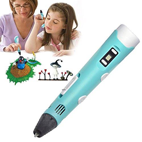 KKmoon Caneta de impressão 3D Velocidade ajustável Temperatura Tela LED Suporte de caneta ABS com 1 rolo 10m PLA Filamento para desenho Pintura Arte Artesanato Criação de modelos 3D Educação infantil