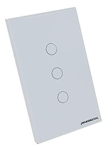 Novadigital Interruptor Touch Led 3 Botões RF433Mhz Wi-fi Smart Home Google Home Alexa Automação Residencial Original