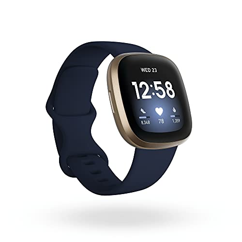 Fitbit Smartwatch Versa 3 Health & Fitness com GPS, frequência cardíaca 24 horas por dia, 7 dias por semana, bateria 6+ dias, azul meia-noite/ouro, tamanho único (faixas P e G incluídas)