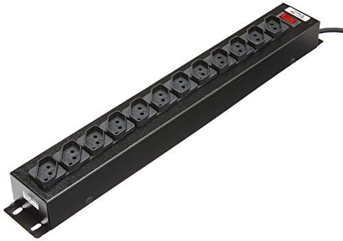 Filtro De Linha Force Line 1,5 Metros Bivolt 12 Tomadas Regua Extensora Rack Padrao, 0091000001, Preto