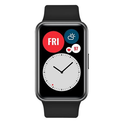 Smartwatch HUAWEI Watch Fit Relógio Inteligente, Monitor AMOLED vívido de 1,6 polegadas, Animações de Treino Rápido, Bateria de 10 Dias de Vida Útil, Rastreador Esportivo GPS Fitness 5 ATM à prova d'água, para telefone Android e IOS (Preto)