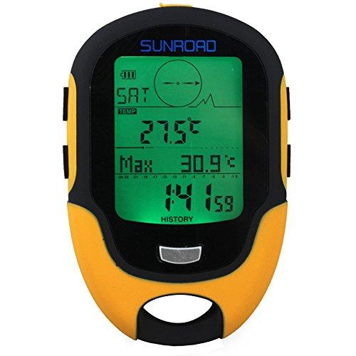 Sunbaca FR500 multifuncional LCD Digital altímetro barômetro bússola termômetro higrômetro previsão lanterna LED