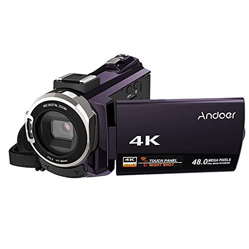 Miaoqian 4K 1080P 48MP WiFi câmera de vídeo digital filmadora gravador com Novatek 96660 Chip 3 polegadas touchscreen capacitivo IR infravermelho Visão noturna com zoom 16X Suporte para sapata fria Mi
