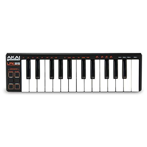 AKAI Professional LPK25 – Controlador de teclado MIDI USB com 25 teclas de ação sintetizadora sensível à velocidade para laptops (Mac e PC), software de edição incluído