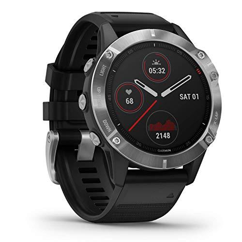 Garmin fenix 6, relógio GPS multiesportivo premium, ajuste de calor e altitude, V02 Max, sensores de pulso e foco de carga de treinamento, prata com pulseira preta
