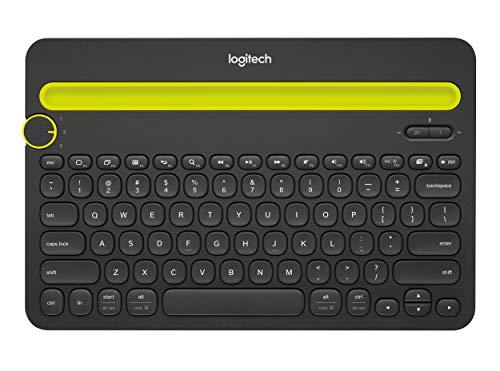 Teclado sem fio Logitech K480 com Suporte Integrado para Smartphone e Tablet, Conexão Bluetooth para até 3 dispositivos e Pilha Inclusa