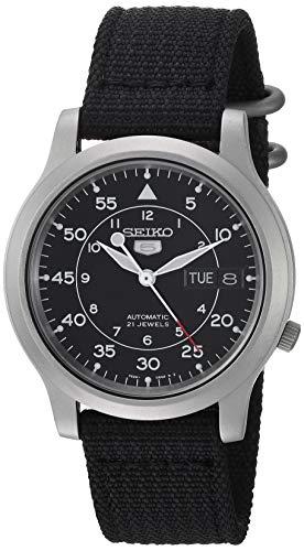 SEIKO Relógio masculino SNK809 SEIKO 5 automático de aço inoxidável com pulseira de lona preta