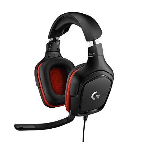 Headset Gamer Logitech G332 para PC, PlayStation, Xbox e Nintendo Switch - Preto/Vermelho