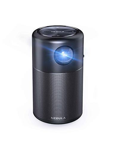 Cápsula de Nebulosa Anker, Mini Projetor Smart Wi-Fi, Preto, Projetor Portátil de 100 Lúmens ANSI, Alto-falante de 360°, Projetor de Filme, Imagem de 100 polegadas, Reprodução de Vídeo de 4 Horas, Projetor Neat, Entretenimento em Casa