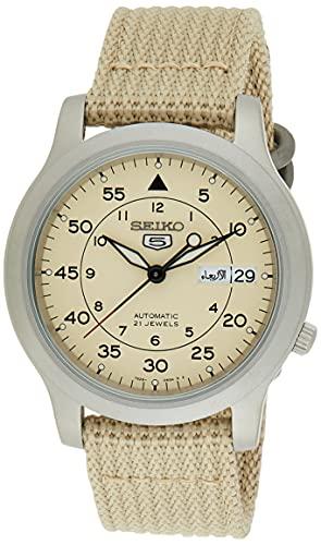 SEIKO Relógio masculino automático SNK803 SEIKO 5 com pulseira de lona bege