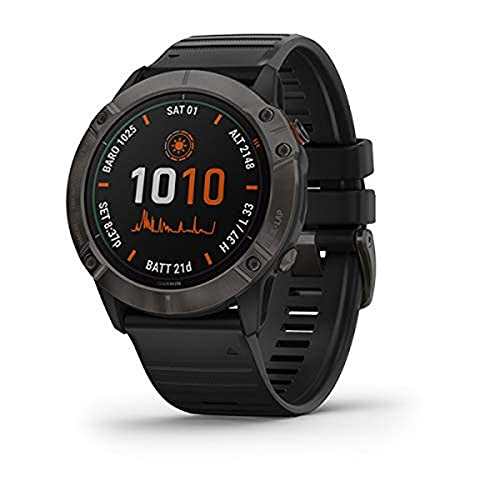 Relógio Smartwatch Garmin Fênix 6X Edição Pro Solar - Titânio/Preto