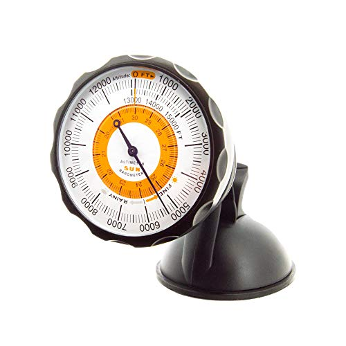 Sun Company AltiPort – Altímetro e barômetro destacável de para-brisa e painel | Altímetro para carros e caminhões | Lê altitude de 0 a 15.000 pés