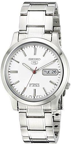 SEIKO Relógio masculino SNK789 SEIKO 5 automático de aço inoxidável com mostrador branco