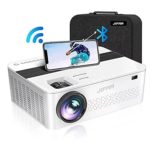 Projetor nativo 1080p com bolsa, projetor 9000 Lux 4K para filmes ao ar livre com tela de 450 polegadas, suporta Dolby e Zoom, compatível com antena de TV, HDMI, VGA. USB, smartphone, PC