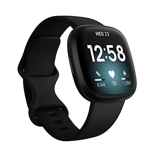 Fitbit Versa 3 Saúde e Fitness Smartwatch W / Bluetooth chamadas / textos, carregamento rápido e GPS, freqüência cardíaca de SpO2, 6+ Dias Bateria (S & L Bandas, 90 Dia Preço com despesas incluídas) Versão Internacional (alumínio preto)