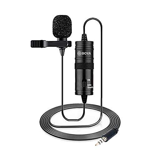 BOYA Microfone omnidirecional Lavalier para Canon Nikon Sony, para iPhone 6, 5, 4S, 4, câmera de vídeo DSLR e gravadores de áudio