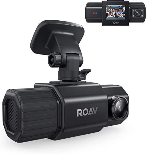 Anker Roav Dual Dash Cam Duo, Dual FHD 1080p Câmera veicular de amplo ângulo frontal e interno, dois sensores Sony, visão noturna infravermelha, GPS, G-Sensor, modo de gravação em loop e estacionamento (sem Wi-Fi)
